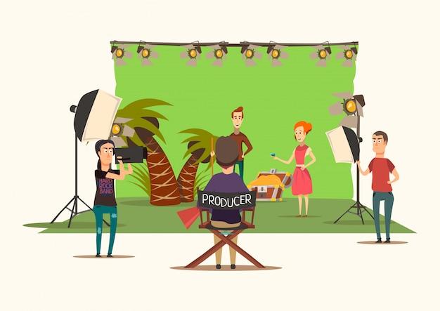 Glückliche situationsfilm-schießenzusammensetzung mit der insellandschaftslandschaft des filmsatzdesigns mit produktionseinheit-vektorillustration nachahmend