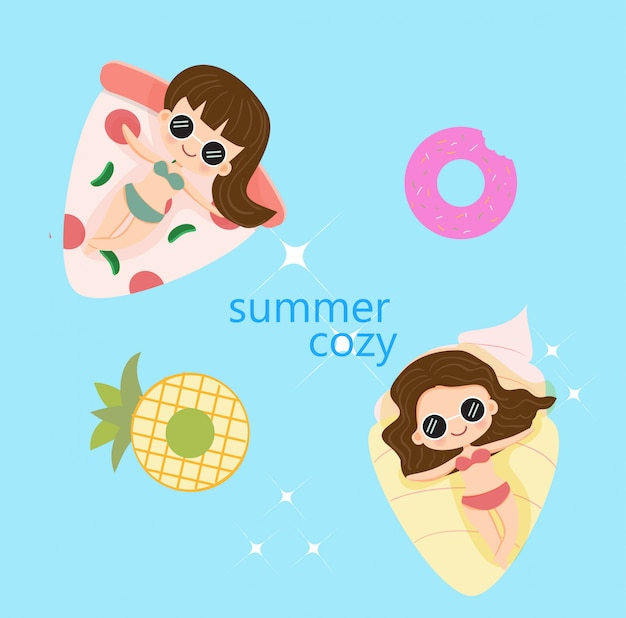 Glückliche sommerferien des netten mädchens