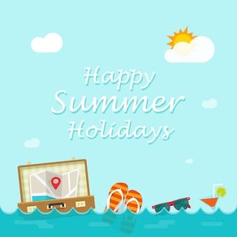 Glückliche sommerferienvektorillustration mit den reisensachen, die auf meereswellen schwimmen