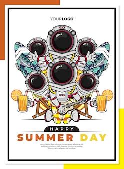 Glückliche sommertagplakatschablone mit niedlicher zeichentrickfigur des astronauten am strand