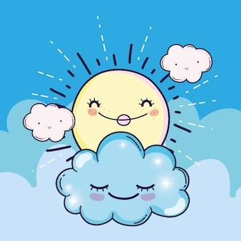 Glückliche sonne mit niedlichen flauschigen wolken