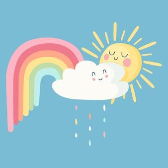 Glückliche sonne und wolken mit regenbogen