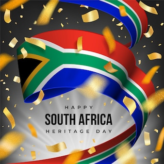 Glückliche south africa heritage day-grußkarte mit nationaler flagge von rsa und goldenem konfetti.