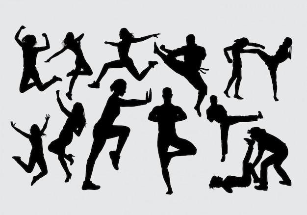 Glückliche sportfrauenschattenbild