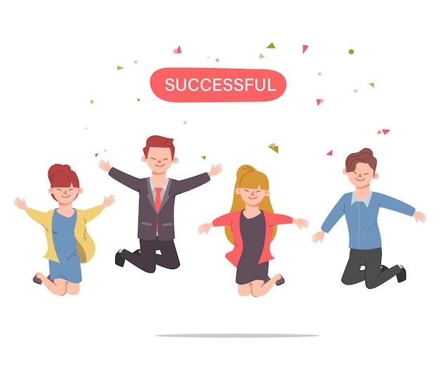 Glückliche springende büroangestellte erfolgreich nette unternehmensangestelltzeichentrickfilm-figuren eingestellt.
