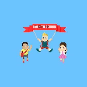 Glückliche springende kinder des pixels