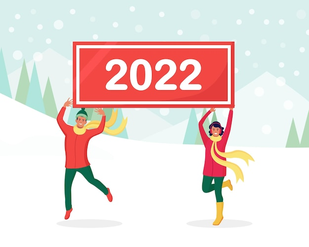 Glückliche springer halten schilder oder plakate mit nummern 2022. eine gruppe von freunden wünscht frohe weihnachten und ein glückliches neues jahr. feiertagsgruß. fröhliche leute, die weihnachten feiern