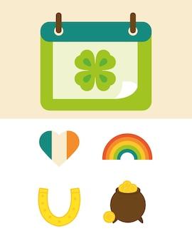 Glückliche st patricks tagikonen kalender herz regenbogen kessel hufeisen flache illustration