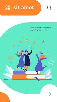 Glückliche studenten, die mit der flachen vektorillustration des akademischen diploms abschließen
