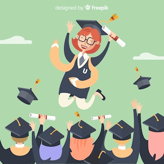 Glückliche studenten, die mit flachem design graduieren