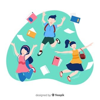 Glückliche studenten, die mit flachem design springen