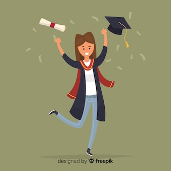 Glückliche studenten, die staffelung feiern