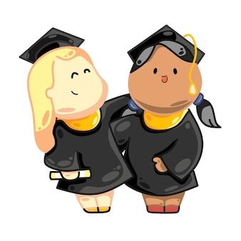 Glückliche studenten mit hochschul- oder universitätsabschluss verschiedene nationalitäten