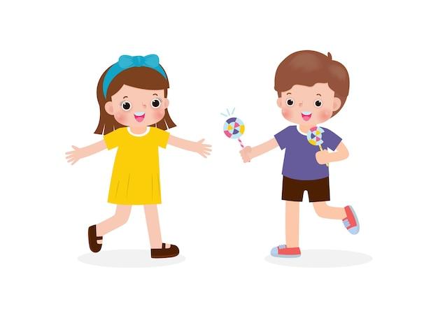 Glückliche süße kleine kinder, die süßigkeiten an freundzeichentrickfiguren mit flachem design teilen, isolierter vektor isolated