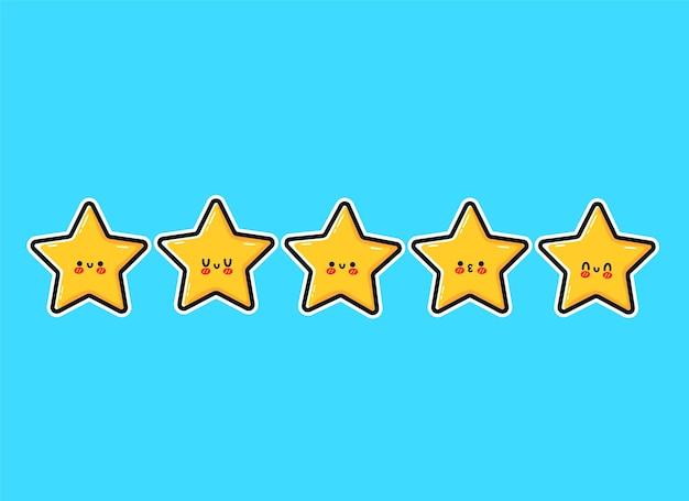 Glückliche süße lächelnde lustige 5 sterne. vektor-flache cartoon-figur-illustration-icon-design. niedlicher kawaii-charakter, fünf-sterne-kundenproduktbewertungskonzept