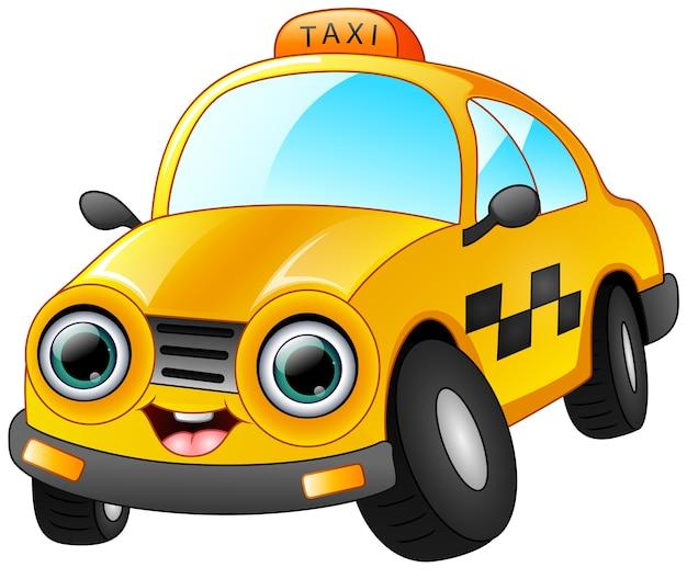 Glückliche taxikarikatur lokalisiert auf weißem hintergrund