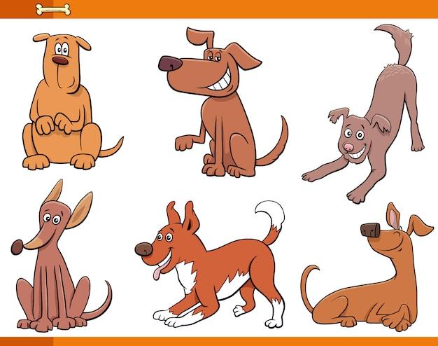 Glückliche tiercharaktere von hunden und welpen eingestellt