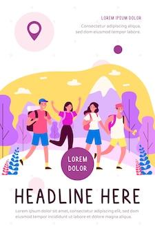 Glückliche touristen, die flache illustration des bergwanderweges üben