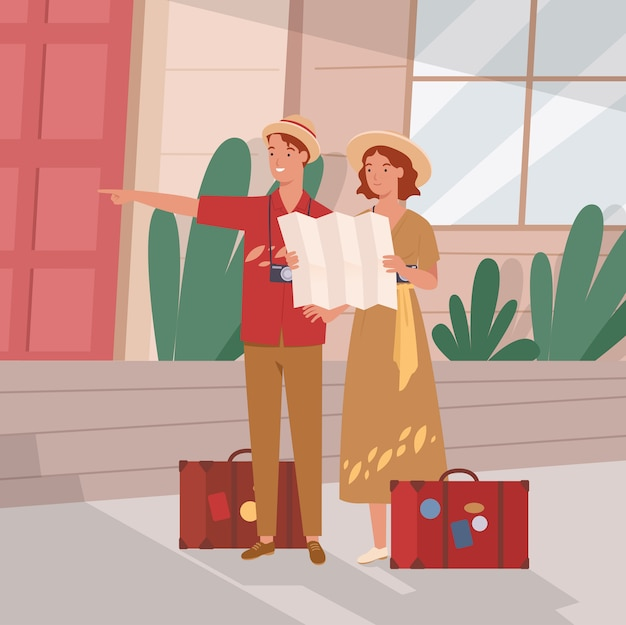 Glückliche touristen, die stadt mit karte besichtigen. tourist mit gepäck.
