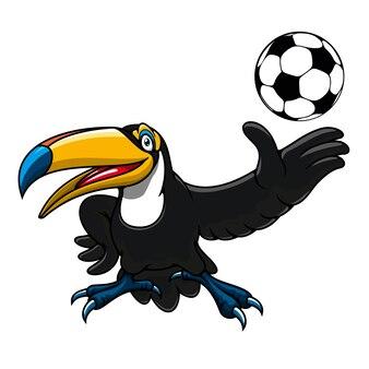 Glückliche tukanvogelspieler-zeichentrickfigur mit ball für maskottchen- oder sportthemen