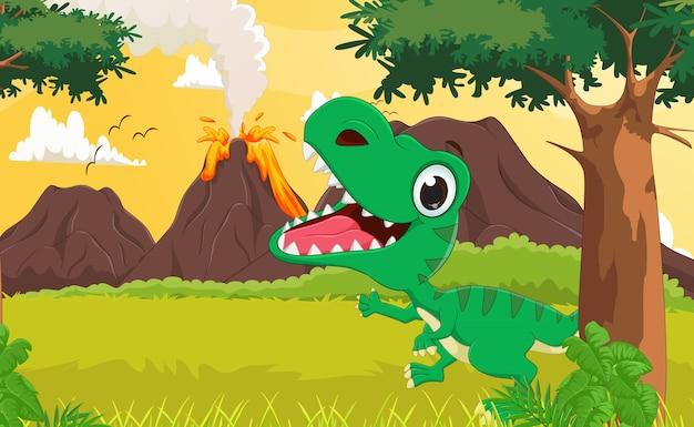 Glückliche tyrannosauruskarikatur mit dem prähistorischen hintergrund
