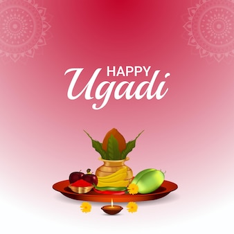 Glückliche ugadi-feier-grußkarte mit traditionellem topf