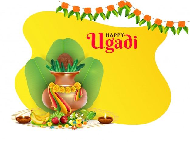 Glückliche ugadi-feierillustration mit anbetungstopf (kalash), bananenblättern, früchten, blumen und beleuchteten öllampen