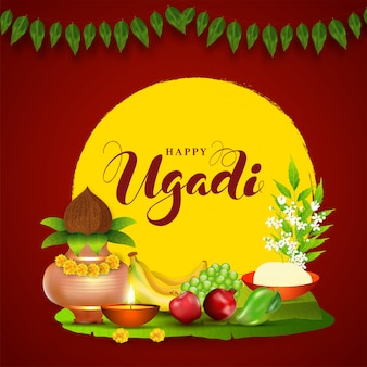 Glückliche ugadi-illustration mit kupferanbetungstopf (kalash), früchten, beleuchteter öllampe, neem-blättern, blumen- und salzschale auf rot und gelb