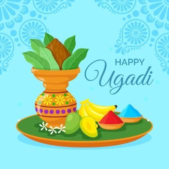 Glückliche ugadi indische vase mit pulver und bananen