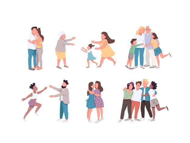 Glückliche umarmung flache farbe gesichtslose zeichen gesetzt. beziehung zwischen verwandten. multikulturelle gruppenfreundschaft. paar kuscheln. familie lokalisierte karikaturillustrationen auf weißem hintergrund