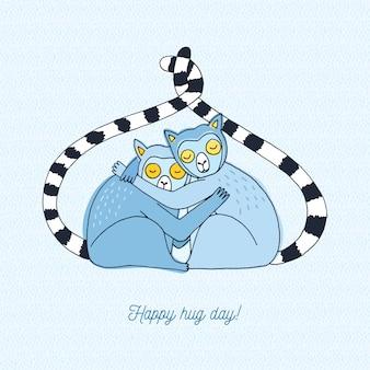 Glückliche umarmungs-tageskarte. bunte hand gezeichnete illustration mit lemuren.
