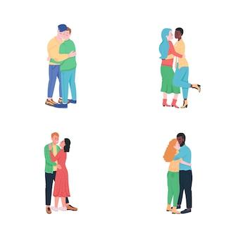 Glückliche umarmungspaare flache farbe detaillierte zeichensatz. schwule verliebte männer. lächelnde frauen.