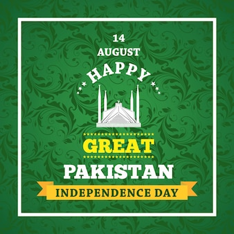 Glückliche unabhängigkeitstag-14. august-pakistan-gruß-karte