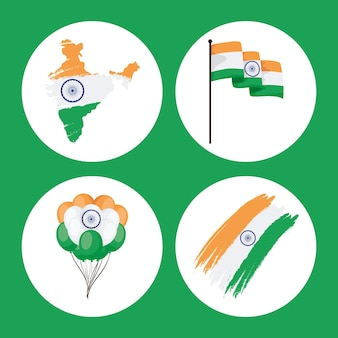 Glückliche unabhängigkeitstag-symbolsammlung indiens auf grünem hintergrund