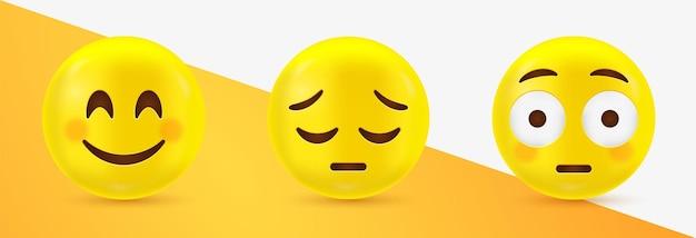 Glückliche und traurige emoticons des 3d-emoji-gesichts mit flushed face
