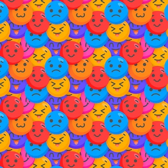 Glückliche und traurige emoticons musterschablone Kostenlosen Vektoren