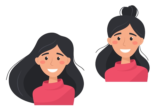 Glückliche und zufriedene frauen mit unterschiedlichen frisuren. illustration im flachen stil.
