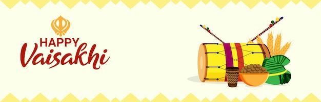 Glückliche vaisakhi flache illustration oder fahne