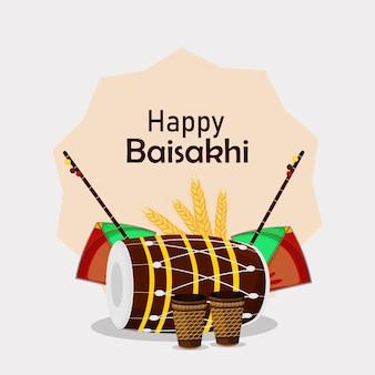 Glückliche vaisakhi sikh fesitval grußkarte mit flachem element