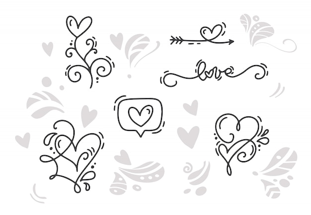 Glückliche valentine day holiday-skizzengekritzel designkarte mit herzen
