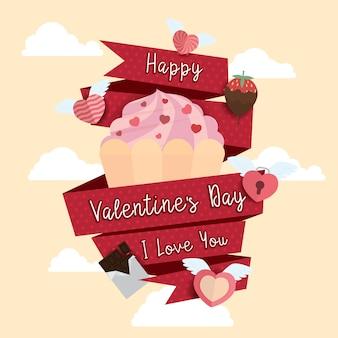 Glückliche valentine day-ikonendesign-hintergrund illustration