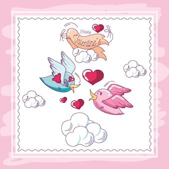 Glückliche valentinsgrüße, grußkartenvögel mit blumenmitteilungsliebeshand gezeichneten stilvektorillustration Premium Vektoren