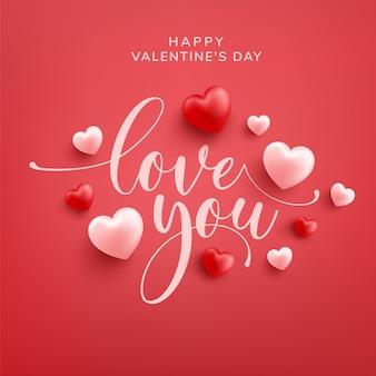 Glückliche valentinsgruß-grußkarte mit liebesworthand gezeichneter beschriftung und kalligraphie mit rotem und rosa herz auf rot