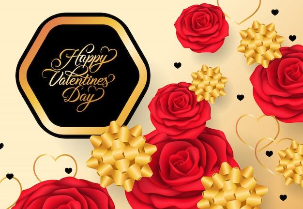 Glückliche valentinsgruß-tagesbeschriftung im rahmen auf goldenem hintergrund