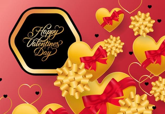 Glückliche valentinsgruß-tagesbeschriftung im rahmen auf rosa hintergrund