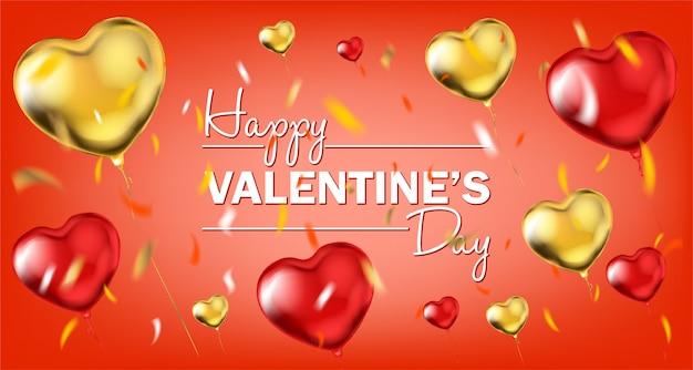 Glückliche valentinsgruß-tagesbeschriftung und metallische luftballone