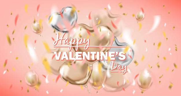 Glückliche valentinsgruß-tagesrosakarte mit metallischen luftballonen