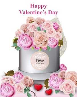 Glückliche valentinsgrußkarte mit pfingstrosen- und rosenblumengeschenkbox vektorillustrationen