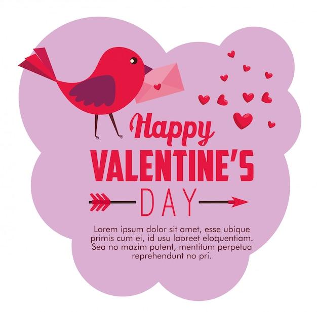 Glückliche valentinsgrußkarte mit vogel- und herzdekoration