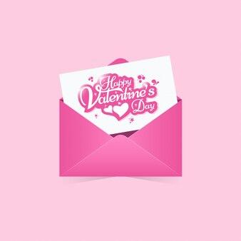 Glückliche valentinsgrußtagesgrußkarte, einladung mit rosa umschlagzusammenfassungshintergrund
